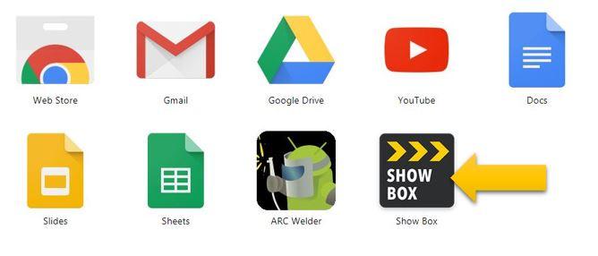 Showbox app on Chromebook