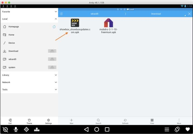 Showbox on ES File Explorer