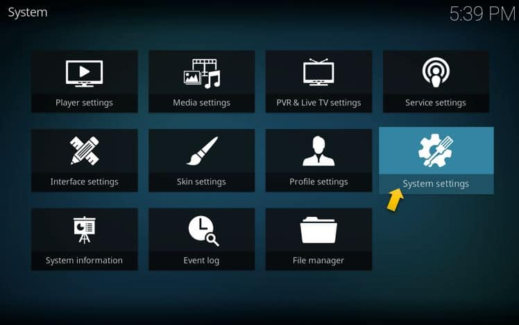 System Settings on Kodi