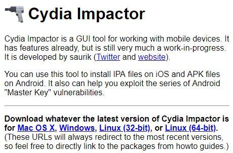 Cydia Impactor Download page